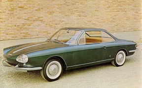 This Tom Tjaarda designed, Pininfarina built Corvair Coupe — a far cry from General Motors' rounder, rear-engine model that ran North American roads — never went into production.