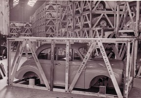 A Morris Minor packaged and ready for shipping to Vancouver's Fred Deeley Motors.