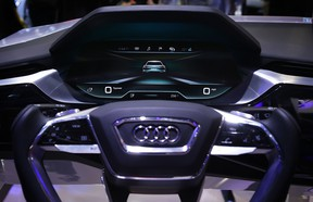 A close-up shot of the Audi next generation virtual dashboard is seen at CES 2016 at the Las Vegas Convention Center on January 6, 2016 in Las Vegas, Nevada.