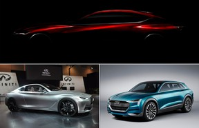 Making their debuts at the 2016 Detroit auto show will be, at top, the Acura Precision Concept, the Audi Q6 h-tron Concept, bottom right, and the 2017 Infiniti Q60.