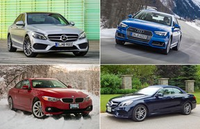 Clockwise from top left are the Mercedes-Benz C-Class, Audi A4, Mercedes-Benz E-Class, and BMW 4 Series.