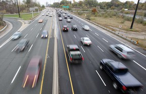 In this file photo, commuters travel up Toronto's Don Valley Parkway.
