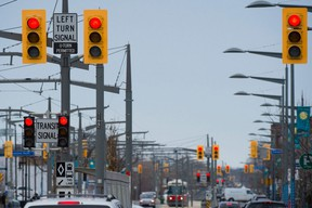 A set of three traffic lights along St. Clair Avenue in Toronto, Monday April 6, 2015.