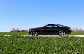 These 21-inch wheels are part of the $45,600 Wraith package that also bestows massaging seats, bespoke audio, extended leather, radar-based assistance systems and more.