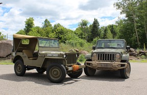 1944 Willys MB Jeep and 2016 Jeep Wrangler Unlimited 75th Anniversary Edition.