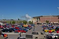 An overview of the First Alliance Church Show 'n'  Shine, including the burnout box. In years past, drivers passing by on Deerfoot Trail have called the fire department, thinking the church is on fire. Show organizers always let the department know what's going on well in advance.