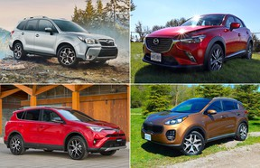 Safest SUVs: Clockwise from top left are the Subaru Forester, Mazda CX-3, Kia Sportage and Toyota RAV4.