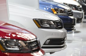 A row of Volkswagens at the media preview for the Canadian International Autoshow at the Metro Toronto Convention Centre in Toronto, Ontario on Thursday February 11, 2016.