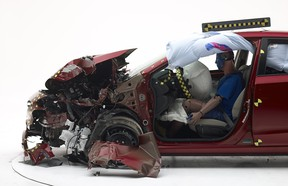 A 2017 Subaru Impreza after a partial frontal crash test by the IIHS.