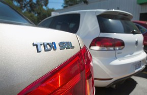 A Volkswagen Passat with the TDI Clean Diesel engine on a sales lot in 2015.