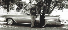 Wayne Tussaro alongside Ed Thiessen with Ed's 1957 Pontiac Laurentian convertible after their North American tour when the car was new six decades ago.