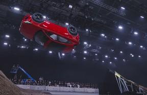 Jaguar and stunt driver Terry Grant set a new Guinness World Record for longest barrel roll at the global launch of the new Jaguar E-PACE at ExCel London.
