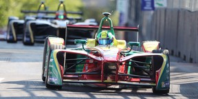 Lucas Di Grassi, of Brazil, drives down the straightaway on his way to winning the Montreal Formula ePrix electric car race, in Montreal on Saturday, July 29, 2017.