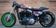 """Michael Hatton says his Harley-Davidson with a Japanese flag painted on the gas tank and the Kawasaki front end is divisive. """"Some people love it and other people hate it."""""""