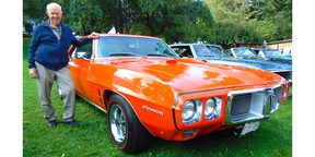 Bruce Graham with the restored Pontiac Firebird H.0. he bought new in October 1969.