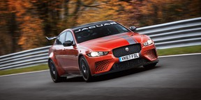 The prototype Jaguar XE SV Project 8 laps Nürburgring Nordschleife during its record-setting time for a sedan of production-intent specification.