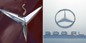 The logos of Studebaker and Mercedes-Benz
