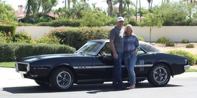 Dave and Cheryl Koop celebrating their 40th wedding anniversary in California with their second 1968 Pontiac Firebird.