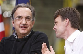 Then-FCA CEO Sergio Marchionne, left, is seen with Jeep brand President and CEO Mike Manley at the Jefferson North Assembly Plant, in Detroit in 2010.