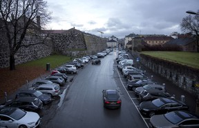 A huge gathering of electric cars parked in the street Kongens gate near Akershus festning in Oslo, Norway, on Monday, Nov 21, 2016.
