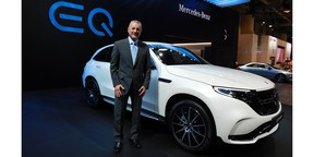 Mercedes-Benz Canada president and CEO Brian Fulton with the 2020 EQC, the luxury automaker's first-ever all-electric SUV that made its Canadian debut at the 2019 CIAS in Toronto.