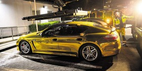 A gold foil-wrapped Porsche Panamera stopped in Germany for being too shiny