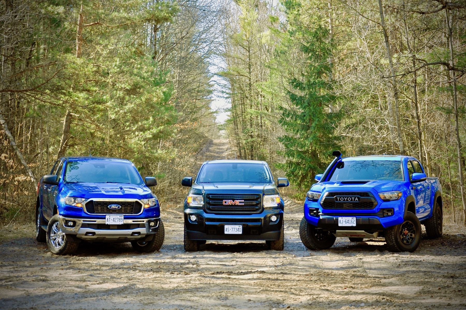 car comparisons, 2019 Ford Ranger vs. GMC Canyon, Toyota Tacoma