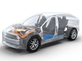 A prototype render of a new BEV platform to be co-developed by Subaru and Toyota