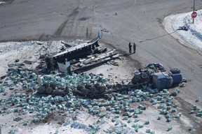 The wreckage of a fatal crash outside of Tisdale, Sask., is seen on Saturday, April, 7, 2018.