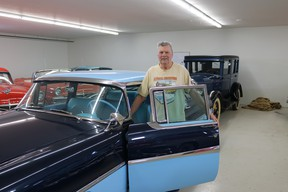 Barry Isaac with his restored 1956 Monarch Richelieu sedan – one of the four Richelieu models produced by Ford of Canada.