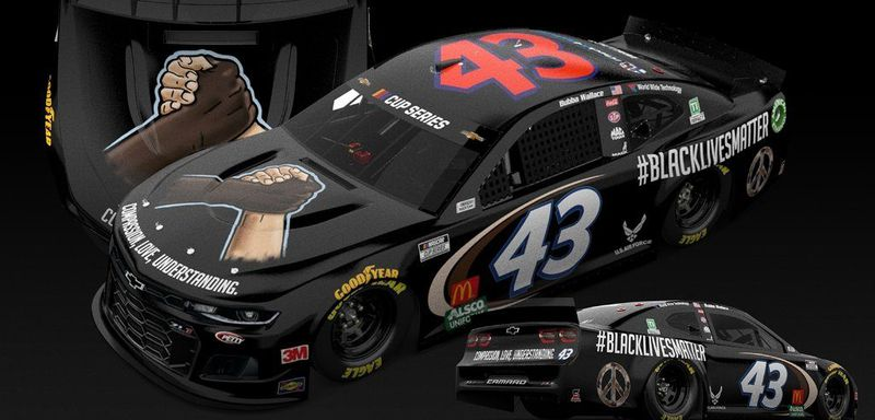 The blackout #BlackLivesMatter livery campaigned on the #43 Richard Petty Motorsports Cup car piloted June 10 by Bubba Wallace