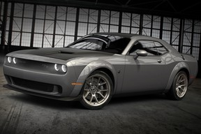 """2020 Dodge Challenger: New """"Smoke Show"""" is one of five new exterior color options for 2020 Dodge Challenger and Charger models, joining Hellraisin, Sinamon Stick, Frostbite and limited-edition Gold Rush. Shown here on the 50th Anniversary Commemorative Edition."""
