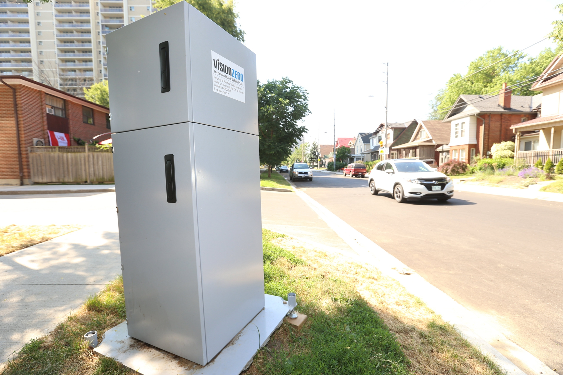The Automated Speed Enforcement cameras - or ASE - are up and running around the city of Toronto. This machine in East York located on Barrington Ave. northeast of Danforth Ave. and Main St. Fines is one of 50 in the city.