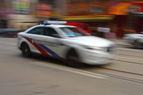 Police car in blurred motion