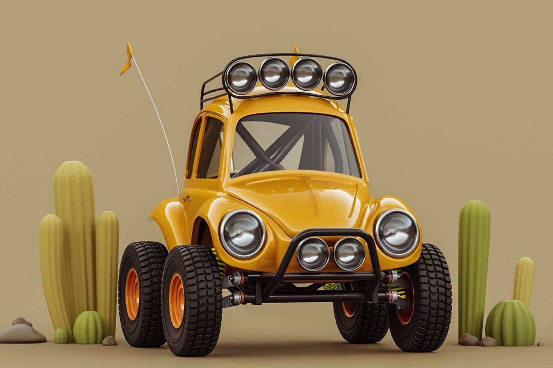 This artist's 3D drawings show the lighter side of some serious cars