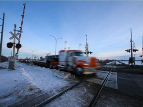 The railway crossing on Preston Avenue is one of the crossings that is being looked at by the city for a possible overpass to alleviate railway issues. Photo taken in Saskatoon on Thursday, January 7, 2021.