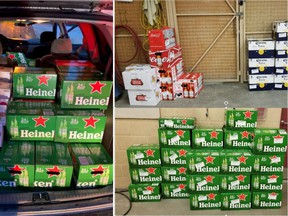 Police found 58 cases of beer after stopping a 'heavily loaded' vehicle.