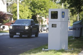 An automated speed enforcement camera keeps an unblinking eye on Barrington Ave. near Danforth in East York.
