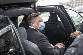 Tesla head Elon Musk leaves after a meeting with the leadership of German Christian Democrats CDU/CSU Bundestag faction on September 02, 2020 in Berlin, Germany.