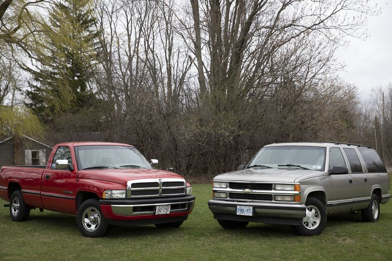 1999 Chevrolet Suburban and 1995 Dodge Ram pickup