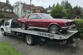 Bruce Hitchen's 1967 Mustang arrives for the restoration he will document on his Center Lane Youtube channel.