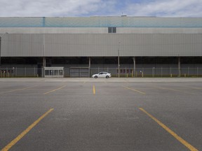 Empty parking lots can be seen outside the Windsor Assembly Plant as the chip shortage continues to effect production, on Thursday, May 6, 2021.