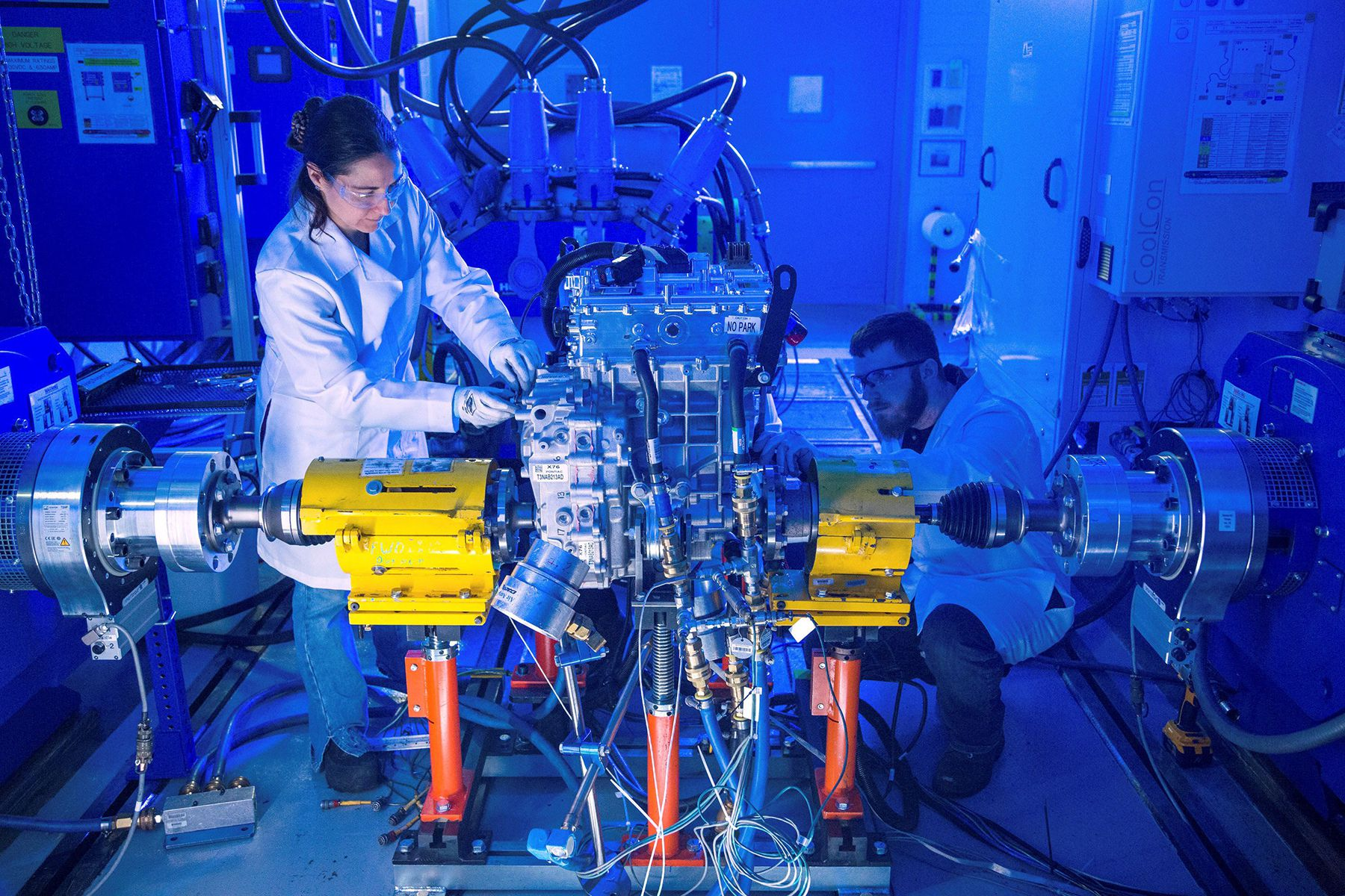 GM engineers test the 'Ultium Drive' unit in the dyno chamber at the General Motors Propulsion Systems Center in Pontiac, Michigan