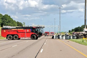 Pearson Airport Panther fire truck supports Highway 410 cleanup operation