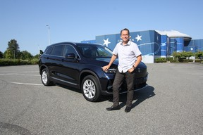 Imperium Motors Canada president Christian Dubois with the Chinese-built  ET5 his company plans to sell later this year in select Canadian markets.