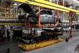 Parts of a Ford pre-production all-electric F-150 Lightning truck prototype are seen at the Rouge Electric Vehicle Center  in Dearborn, Michigan, U.S. September 16, 2021.