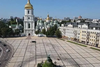 The Saint Sofia Cathedral in Kyiv, after a pair of Red Bull race cars pulled off a drift stunt mid-August 2021.