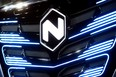 U.S. Nikola's logo is pictured at an event held to present CNH's new full-electric and hydrogen fuel-cell battery trucks in partnership with U.S. Nikola event in Turin, Italy, December 3, 2019.