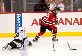New Jersey Devils held their share of the play in Game 2. Here Travis Zajac gets the better of Drew Doughty.