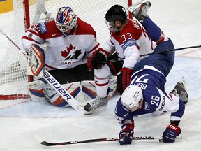 Devan Dubnyk in action for Canada at last spring's World Championships.